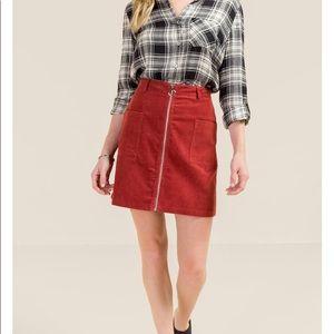 NWT! Black corduroy mini skirt with front zipper